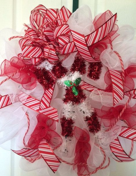 Candy Cane Mesh Christmas Wreath by BeccasCreations4You on Etsy