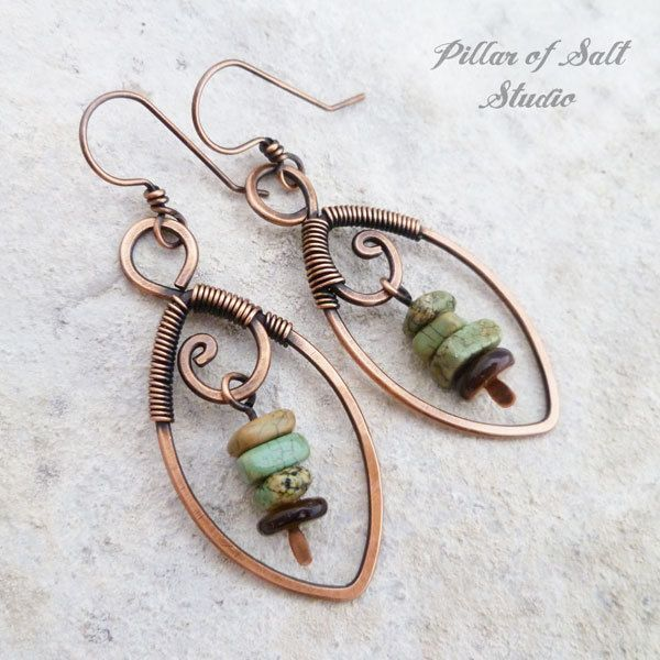 Copper wire wrapped Leaf earrings with olive green stones Copper wire wrapped Leaf earrings with olive green stones