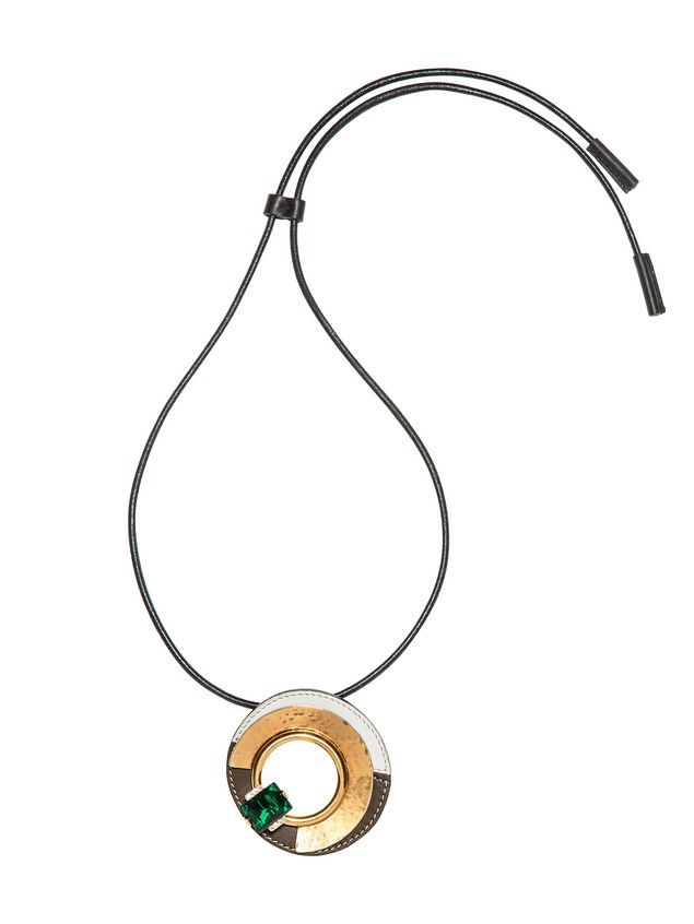 News by MARNI. Necklace made with metal leather and glass