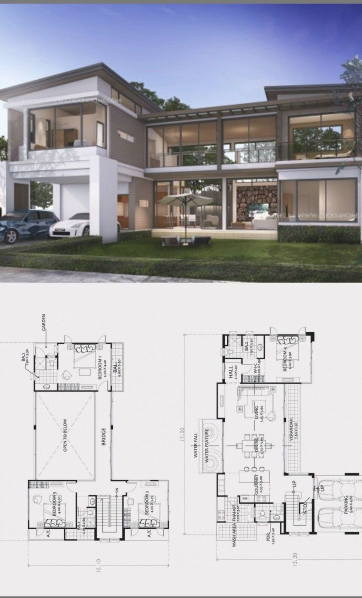 Home Design Plan 17x13m With 4 Bedrooms Home Design With Plansearch House Layouts Beautiful House Plans Contemporary House Plans