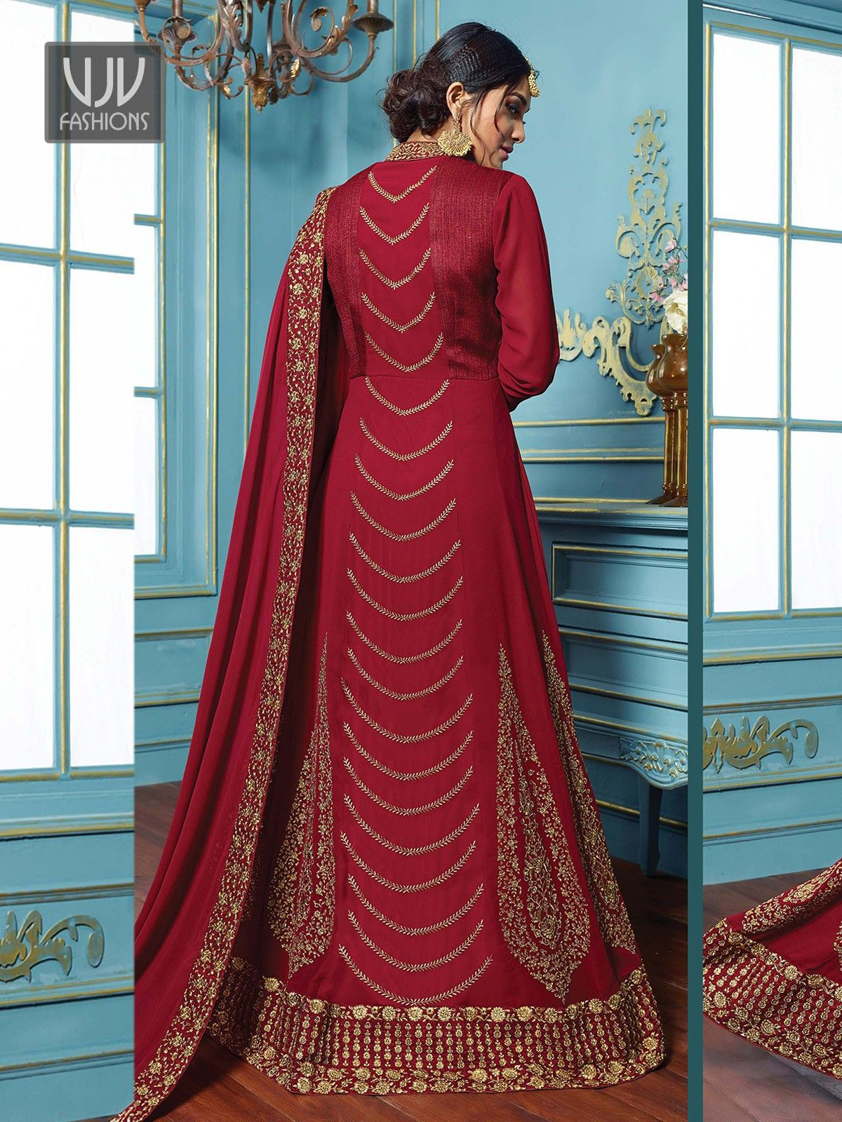 Buy maroon color suit anarkali suit vjv