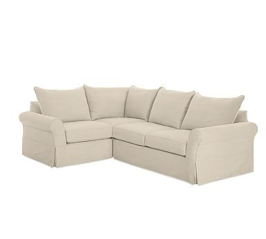 PB Comfort Roll Arm Slipcovered Right Arm 3-Piece Corner Sectional, Knife Edge Down Blend Wrapped Cushions, Linen Oatmeal