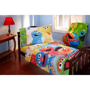 sesame street scribbles 4piece toddler bedding set