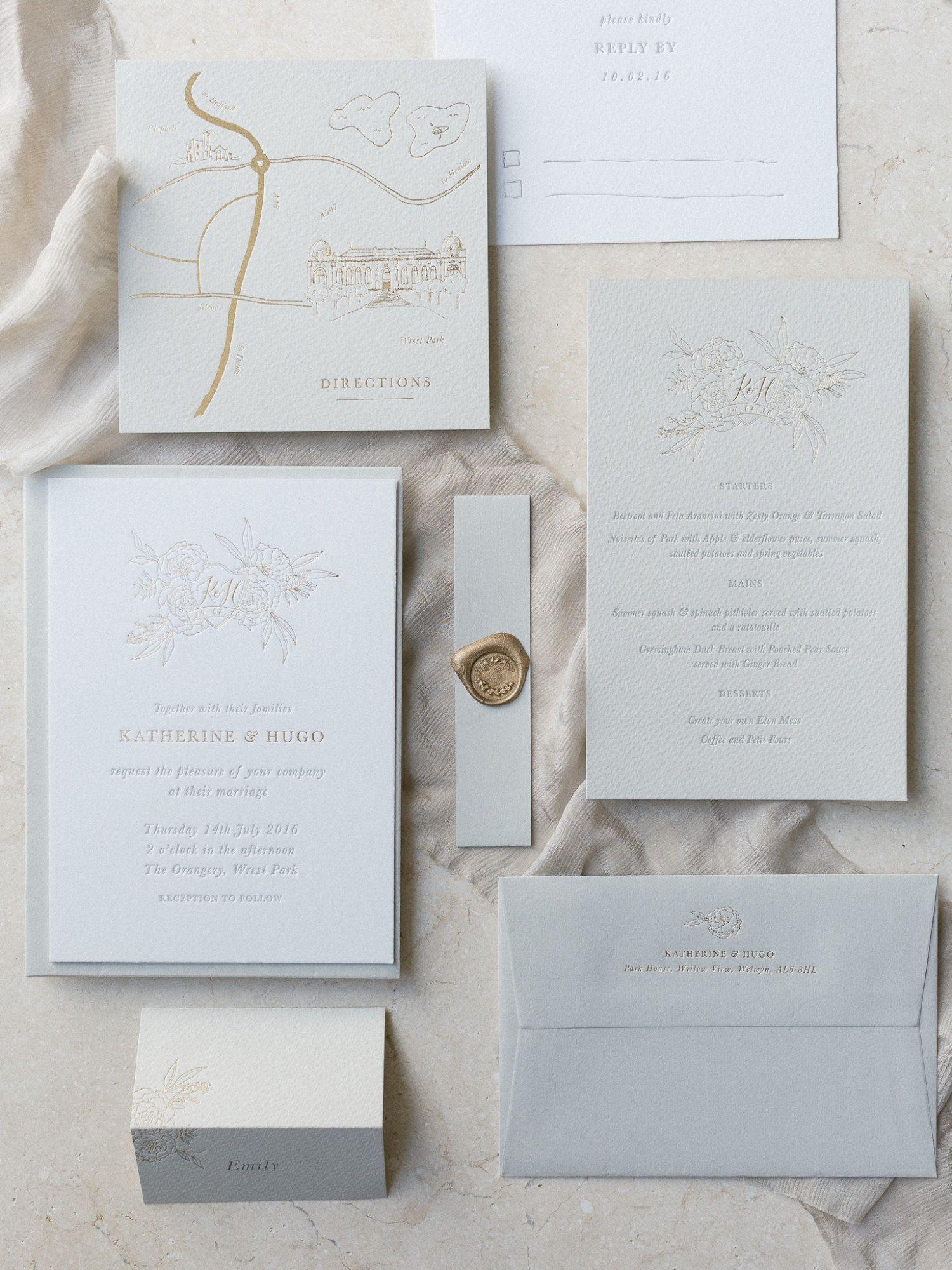 Letterpress wedding invitation stationery suite crest bespoke custom