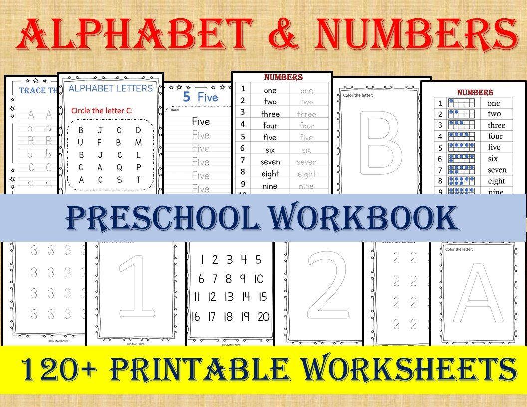 Alphabet Amp Numbers 120 Worksheets Preschool Worksheets