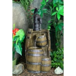 3 Tier Brown Resin Barrel Fountain 11134 at The Home Depot My