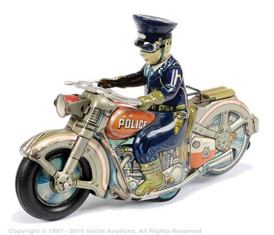 Alps Japan Large Tinplate Police Department Motorcycle Jouets
