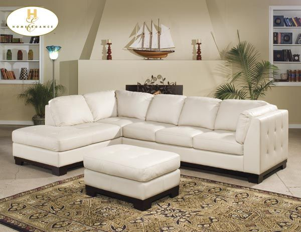100 Ivory Leather Sectional 2000