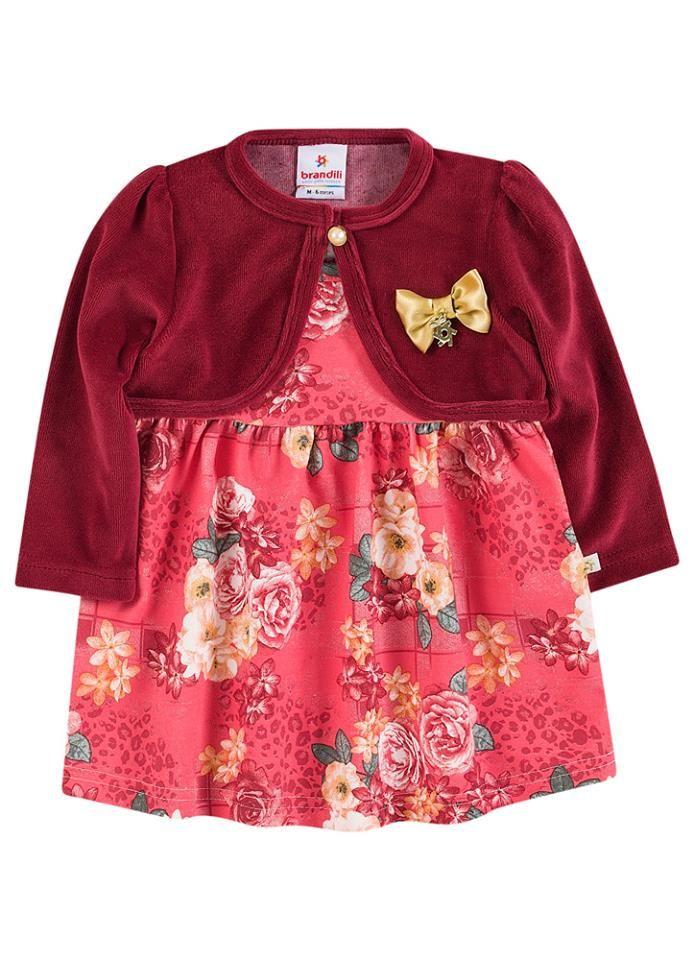fbbb9ff5aa Novidades para as Baby princesas! Vestido com Bolero de Plush - Tamanhos do  P (