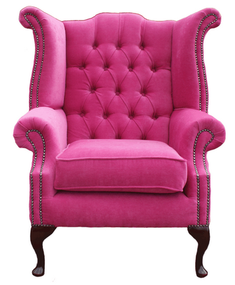 Velvet Wingback Armchairs are so glamourous! I love the bright pink ...