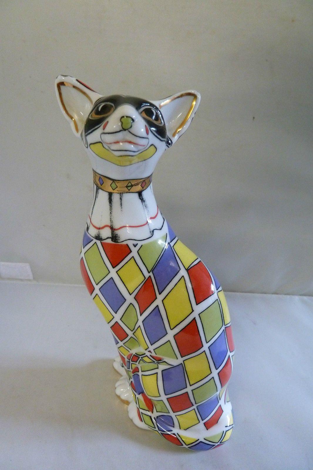 Paul Cardew Design Cool Catz Harlequin Sitting with Paws Porcelain Figurine | eBay