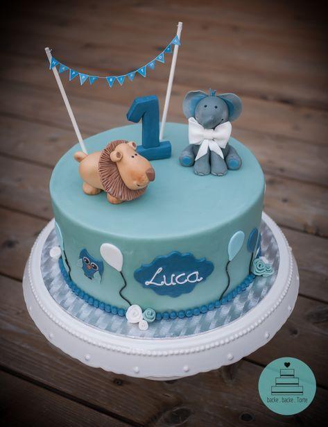Motivtorte zum Geburtstag - Babytorte . Happy 1st Birthday . Babyparty . Elefant . Löwe . Eule . elephant . lion . owl . ballons . Girlande . 1er . Bub . Junge . blau . minigrün . Mädchen . Torte . cake . Fondant . #fondant