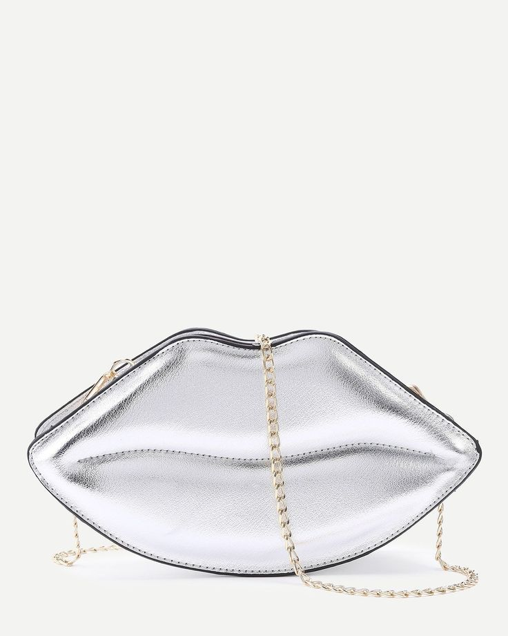 Lips Shape Crossbody Messenger Bag - Silber  #crossbody #messenger #shape #silber #lipsshape