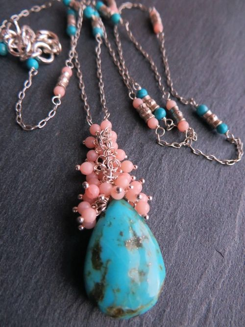 Arizona Turquoise & Coral Cluster Beaded Necklace