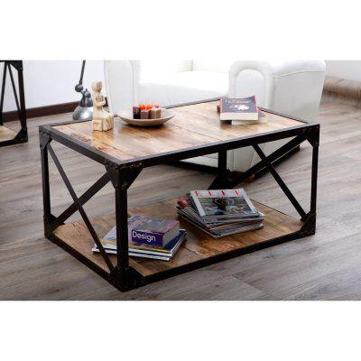 Table Basse Bois Massif Et Metal Industrielle Atelier La Redoute Table Basse Bois Massif Table Basse Bois Table Basse