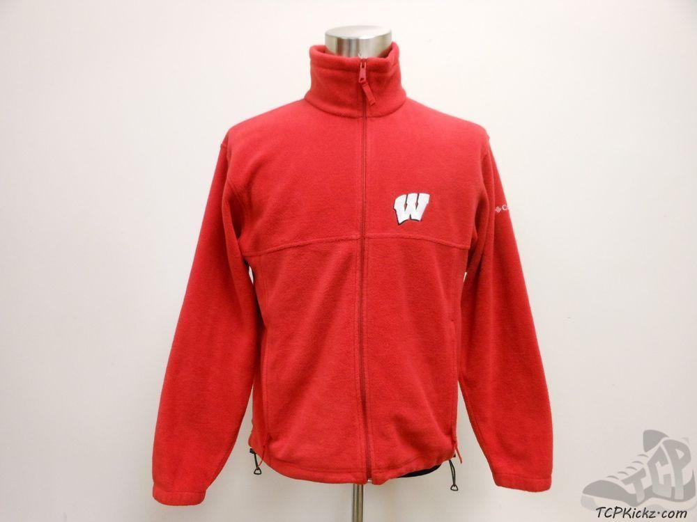 Mens Columbia Wisconsin Badgers Full Zip Fleece Jacket sz M Medium SEWN NCAA #Columbia #WisconsinBadgers #tcpkickz