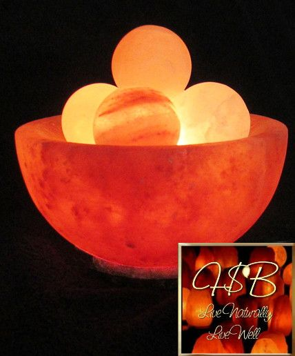 Himalayan Salt Crystal Fire Bowl Lamp W/ 5 Energy Spheres   Medium