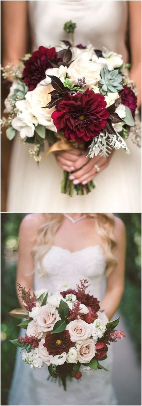40 Burgundy Wedding Bouquets for Fall / Winter Wedding #flowerbouquetwedding