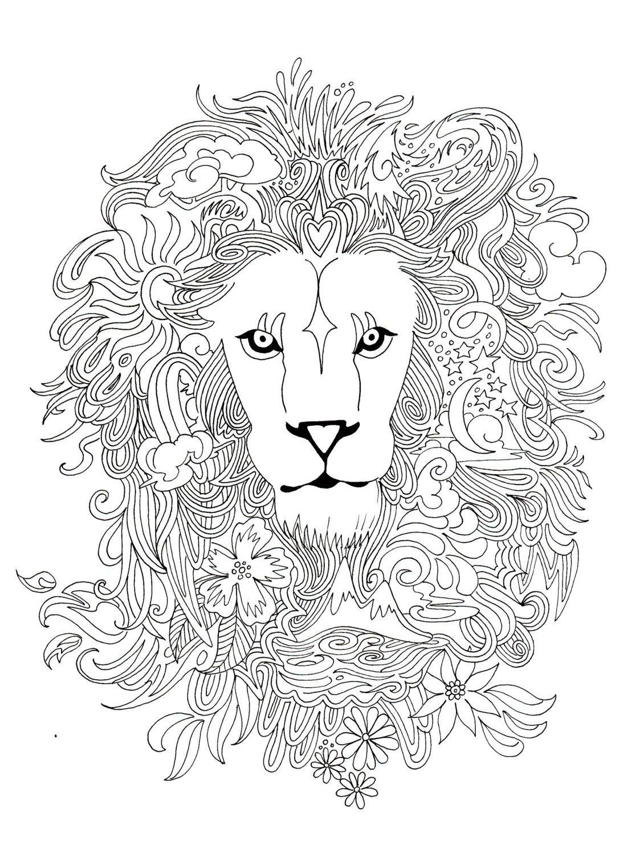lionheart coloring pageborrelli illustrations  animal