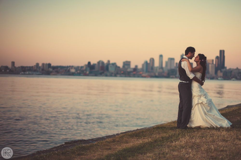 Explore The Sunset Themed Weddings And More Bride Groom Alki Beach Seattle