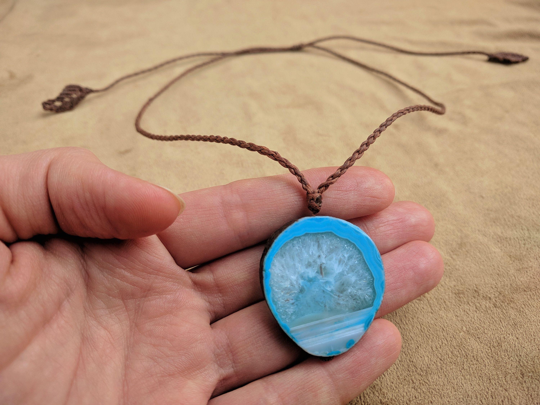 Agate Macrame Necklace Blue Agate Pendant Boho Polished Crystal Macrame Slice Agate Gift Tree Blue Hippie Jewelry Agate Stone Boho Necklace Agate Gift Hippie Jewelry Agate Pendant