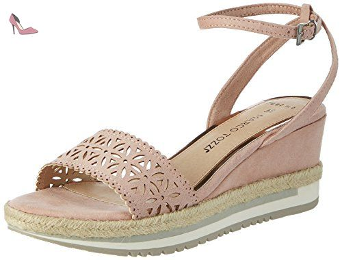 Marco Tozzi 28105, Sandales Bout Ouvert Femme, Beige (Taupe 341), 39 EU