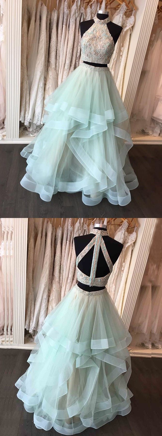 Two piece high neck floorlength open back mint organza prom dress