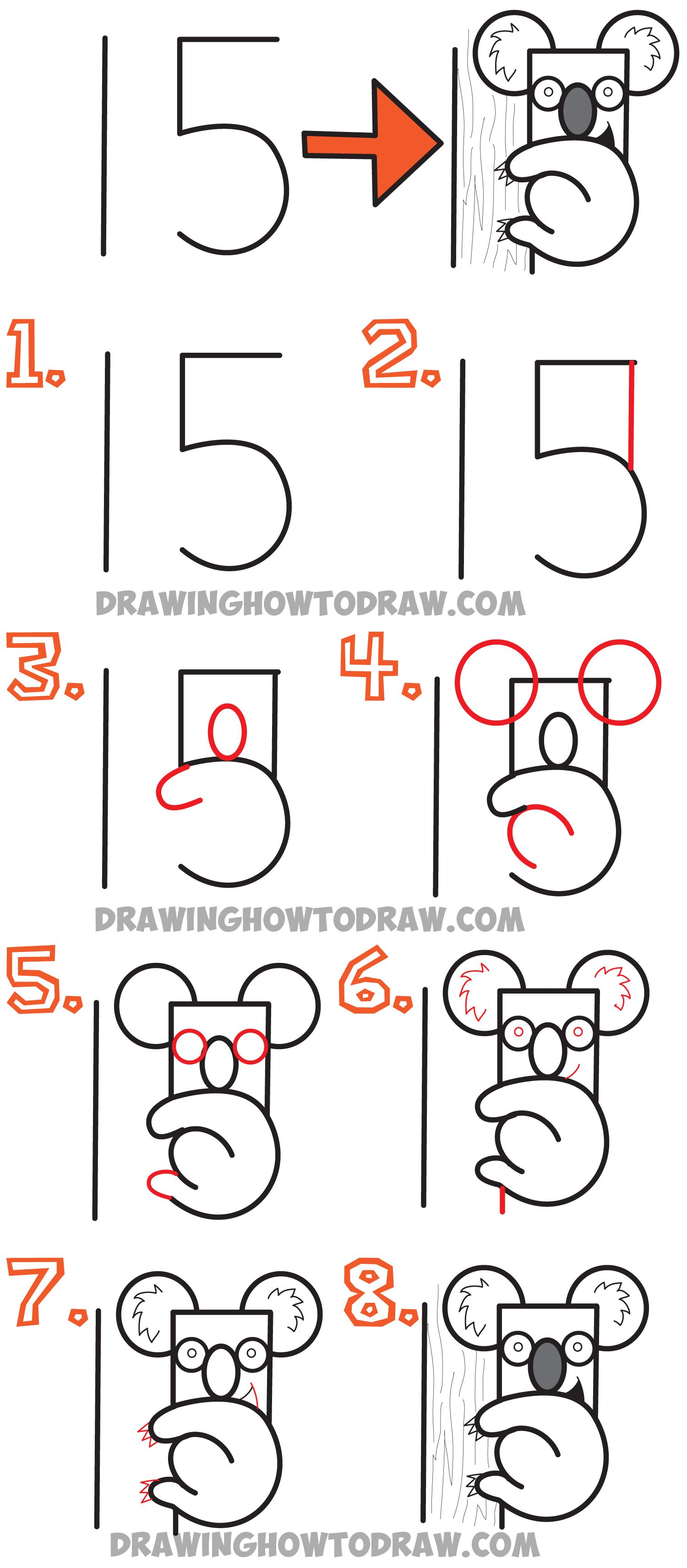 How To Draw A Cartoon Koala Bear From The Number 15 Easy Drawing Tutorial For Kids How To Draw Step By Step Drawing Tutorials Drawing Tutorial Easy Easy Drawings Word Drawings
