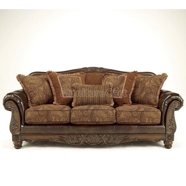 Buy Low Price Signet by ivgStores Carved Wood Sofa w Truffle ...