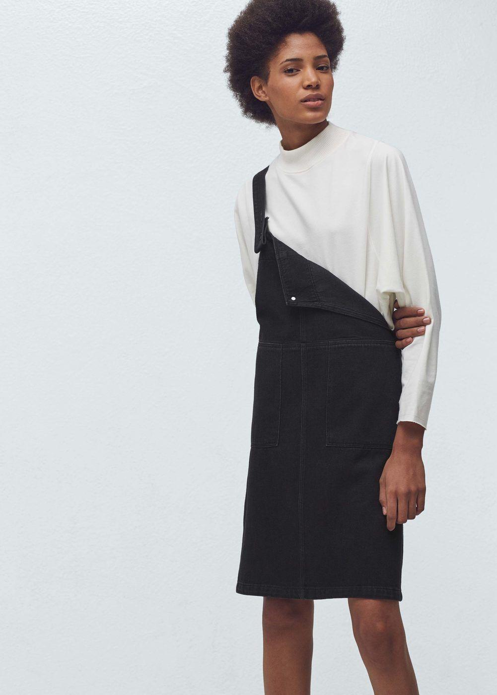 f9948c11f41f Robe chasuble denim noir - Combinaisons pour Femme