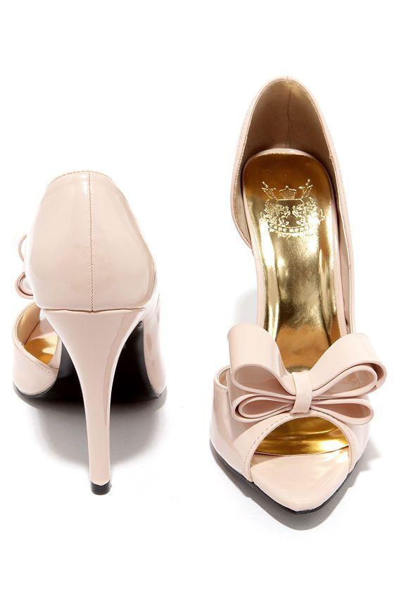 Best Bow-lieve It Nude D'Orsay Peep Toe Pumps | Peep toe pumps ...
