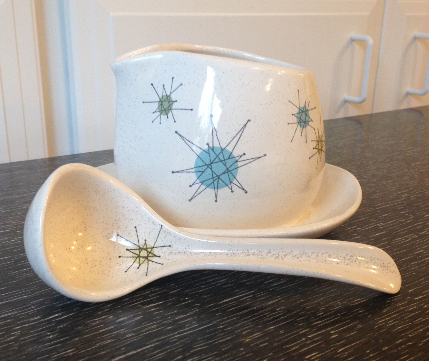 Franciscan Starburst Ceramic Gravy Boat and Ladle 1950s by ...