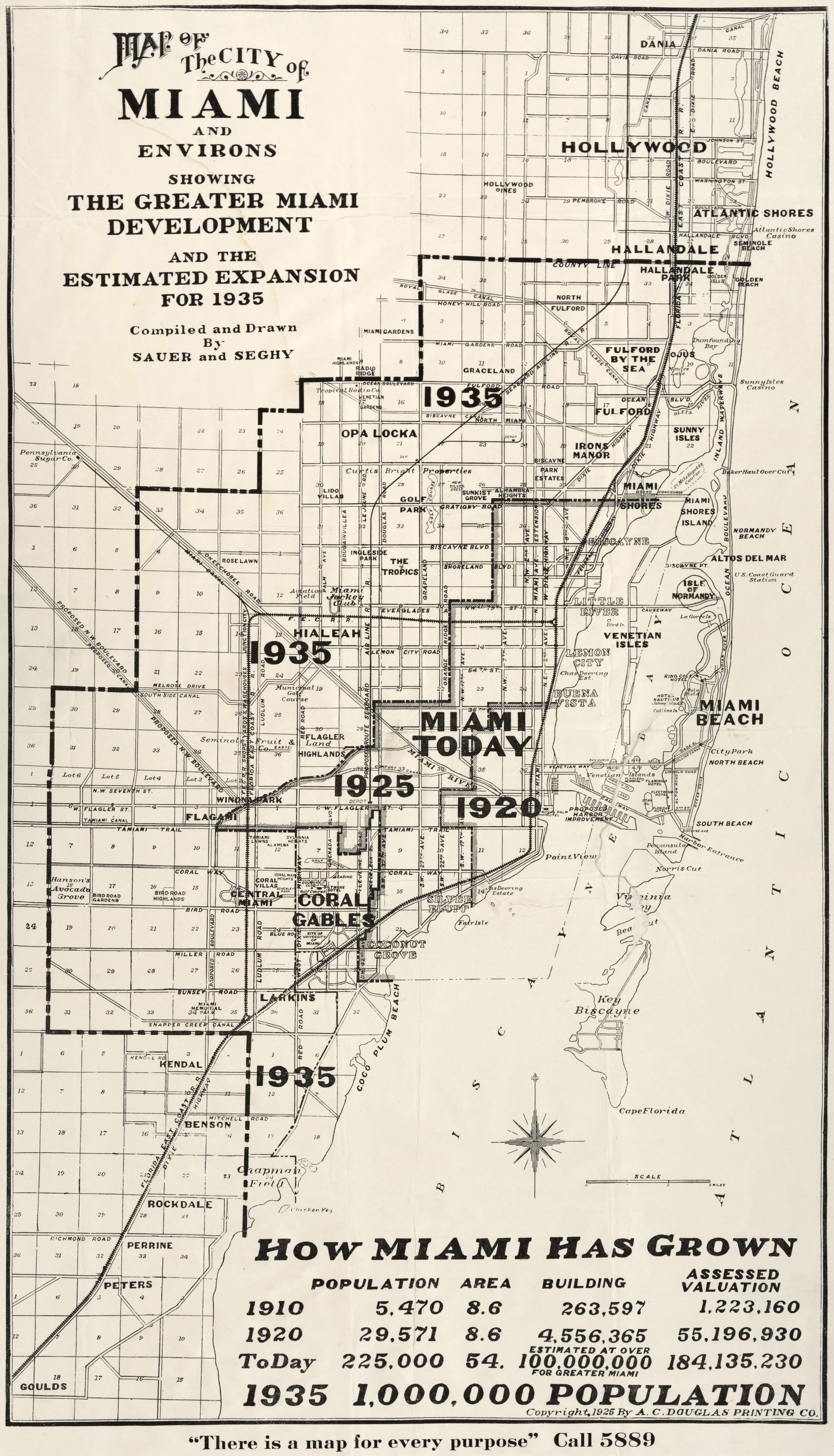 1925 Map Projecting Miami S Growty From Site Their Decennial Numbers For 1920 Are Spot On At 29 571 Their Today 1925 Fig Miami Map Old Map Florida City