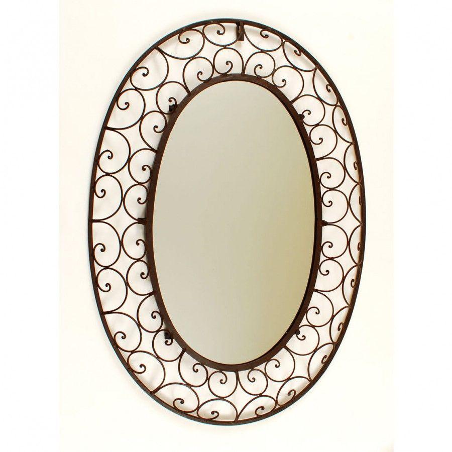 Ashton sutton large oval wrought iron mirror ds499 for Wrought iron mirror