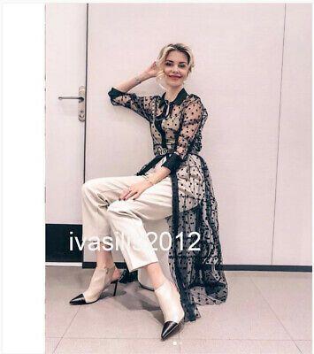 S M XL Zara New Midi Leopard Printed Shirt Dress Black White Size XS