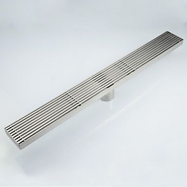 Linear+Floor+Shower+Drain+Stainless+Steel+Adjustable+Exit+Plain+Model+–+USD+$+67.99