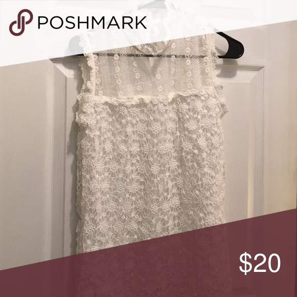 Lace turtle next no sleeve shirt Lace turtle neck with see through material at the top Tops Blouses