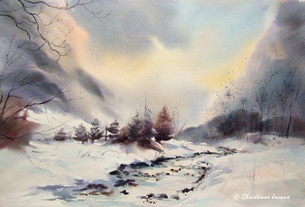 Aquarelles Christiane Javaux Winter Art Watercolour