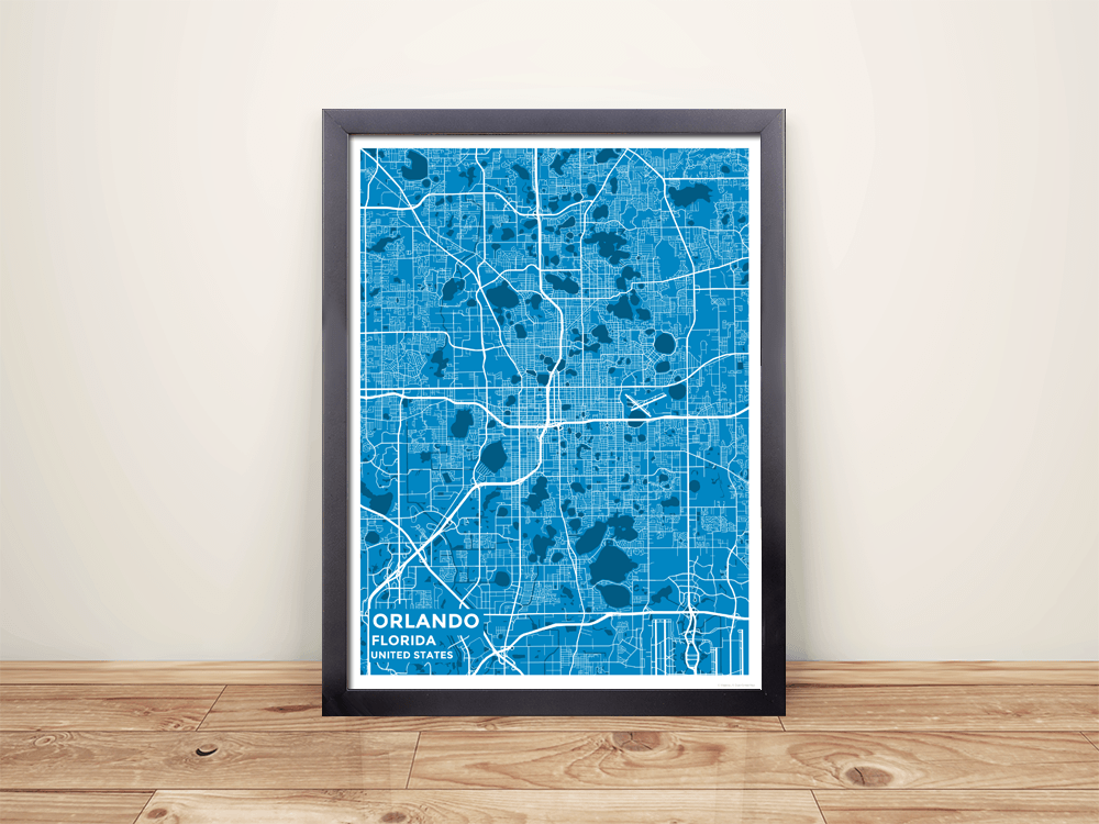 Houston Map Framed%0A Framed Map Poster of Orlando Florida  Subtle Blue Contrast  Orlando Map  Art