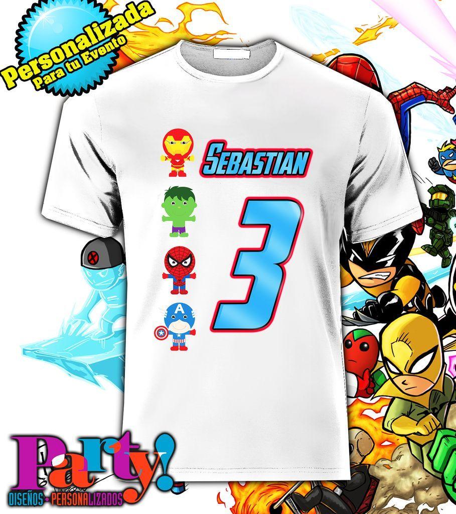 Playera Personalizada Super Heroes Avengers Cumpleaños Batman 8bf96914c3235