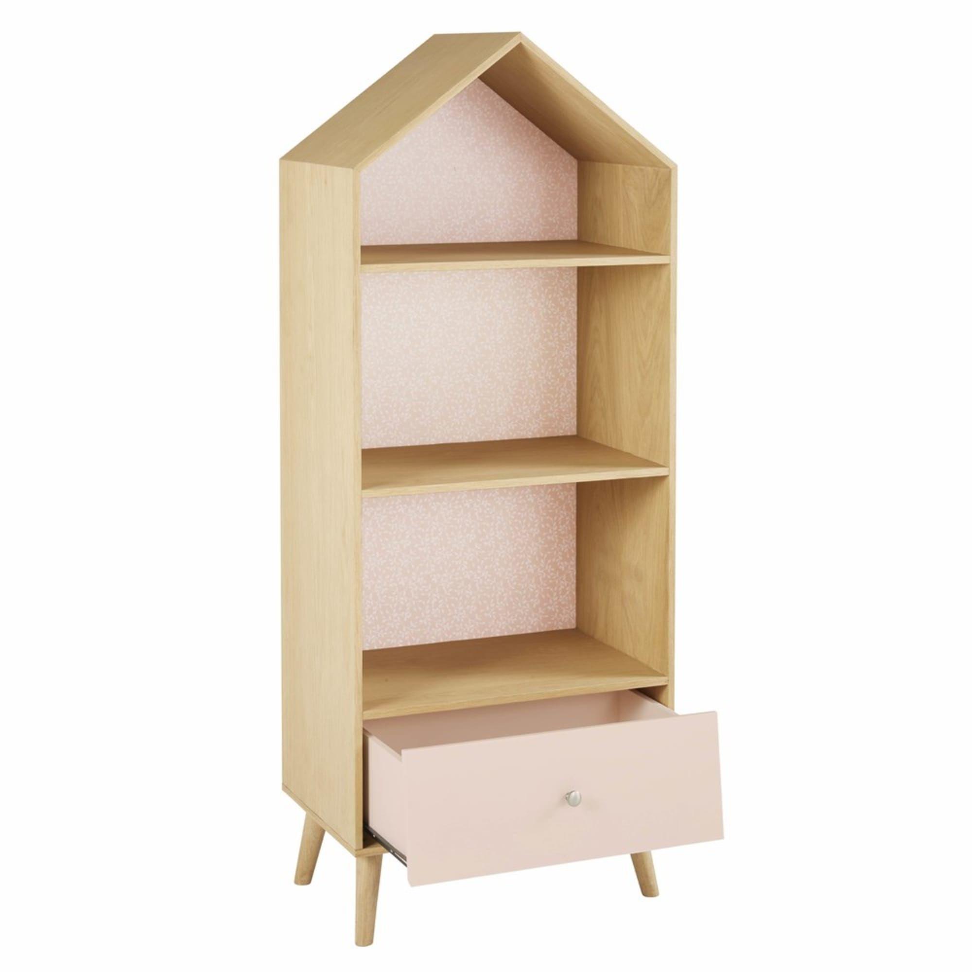 Bücherregal in Hausform für Kinder, rosa und weiß Regal