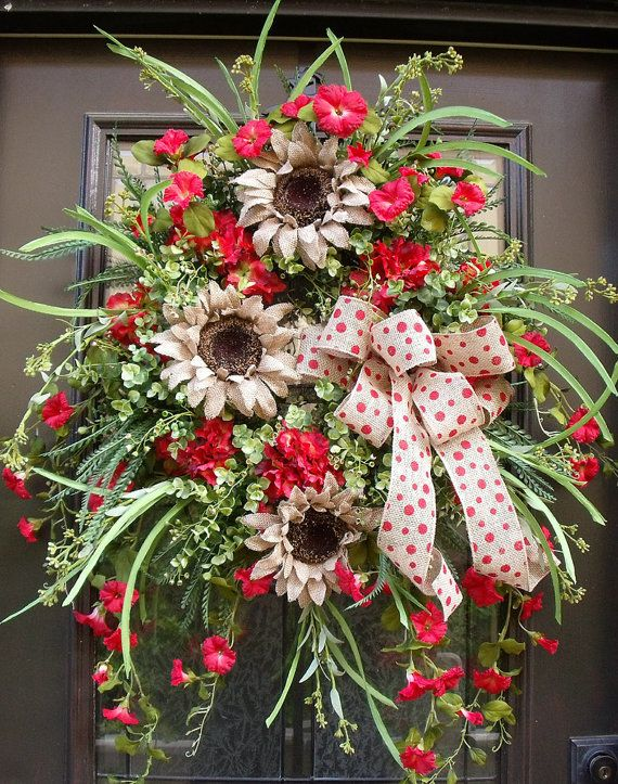 Photo of Items similar to Red Summer Wreath, Burlap Wreath, Summer Wreath Spring, Sunflower Wreath, Summer Door Wreath on Etsy