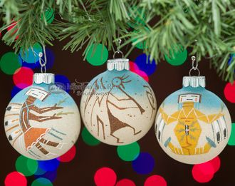 Native American Christmas Ornaments Set -Sand Paintings (o11 ...