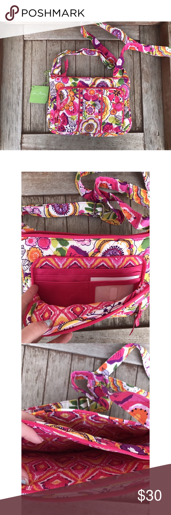Vera Bradley Cross-body This gorgeous print is called Clementine and for good reason! It is a charming pop of color with the perfect boho flare. The colors complement each other beautifully! This little crossover bag is brand new with tags attached. It has no flaws or imperfections. It has a main compartment to keep everything you need and several separate pockets too. I have a matching wallet in my closet as well. If you are interested in purchasing both I can offer a great discount! Vera…