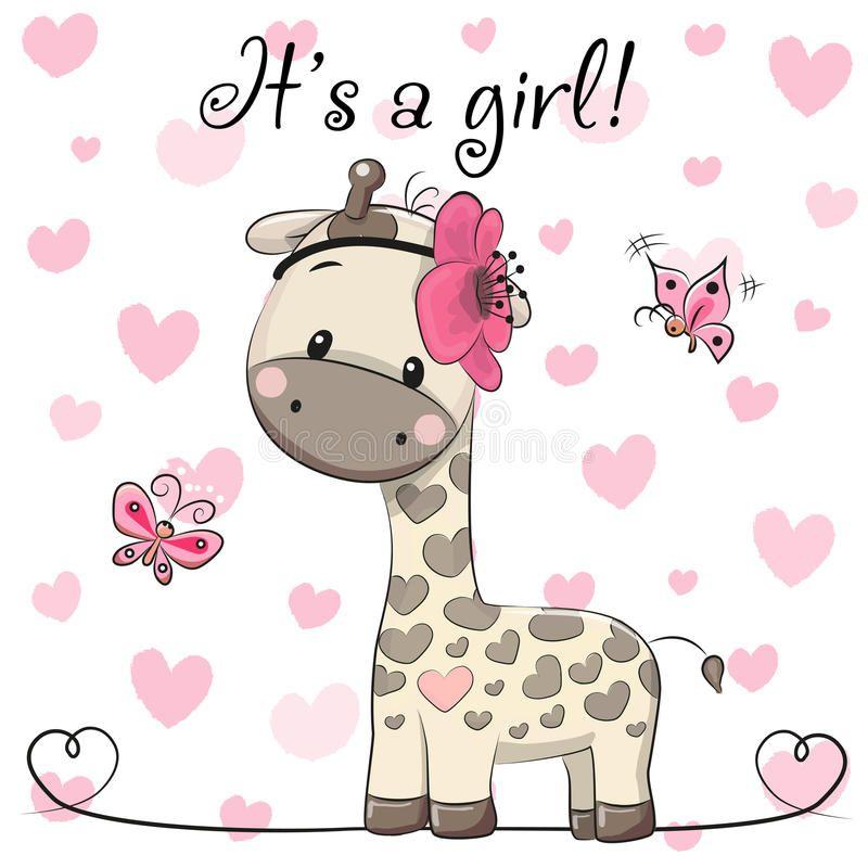 Carte de voeux de f te de naissance avec la fille de girafe illustration de vecteur image - Naissance dessin ...