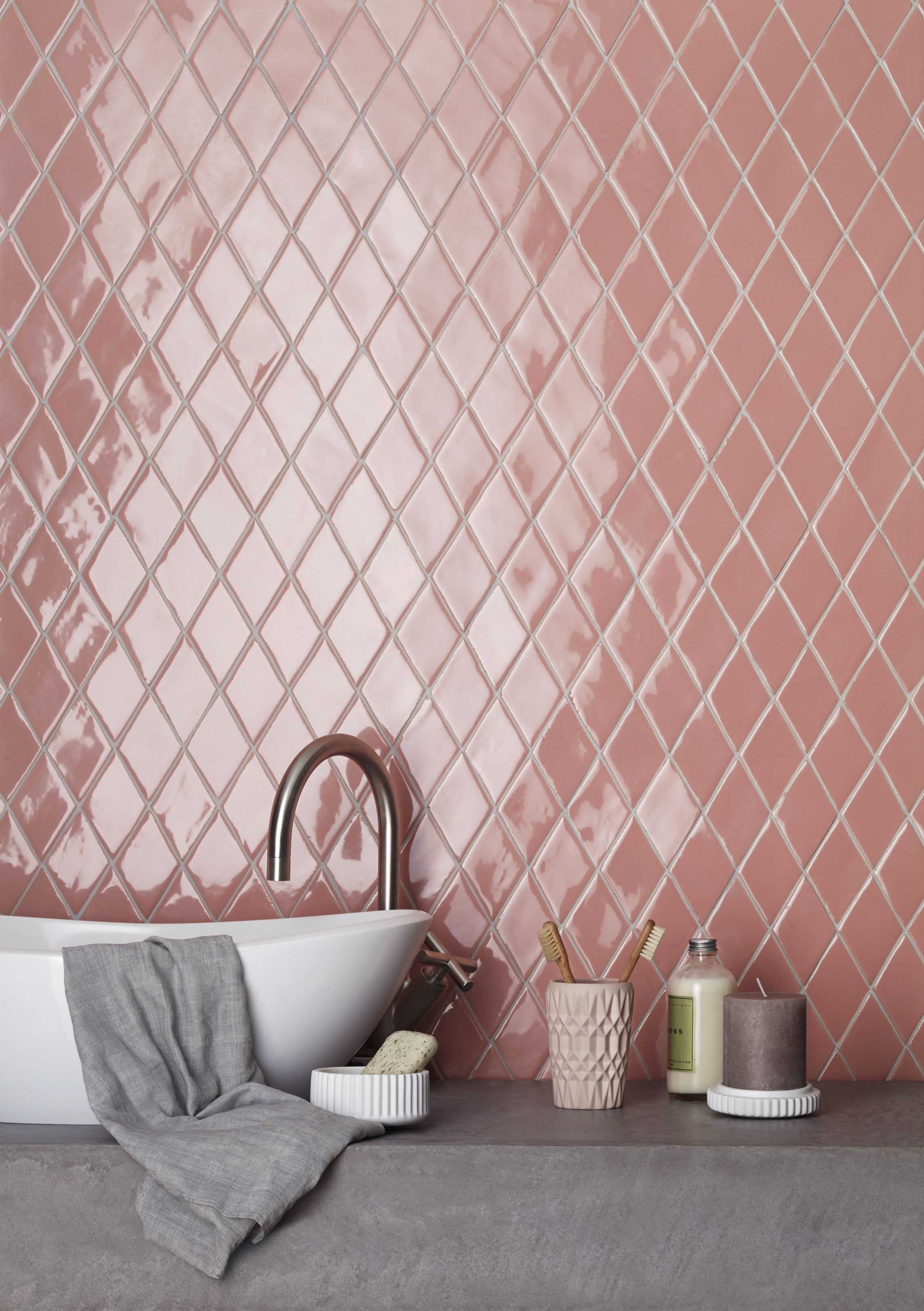 handmade new terracotta tiles // glazed pink diamond | bathroom