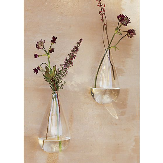 Wall Mounted Teardrop Vase Glass Wall Vase Glass Vase Decor Wall Vase