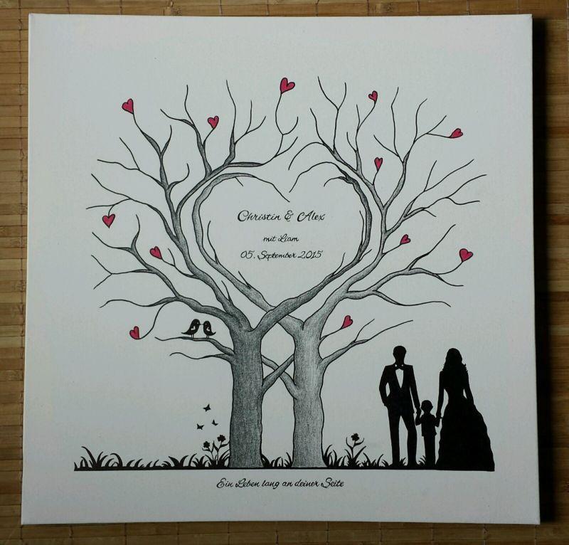 Super Herz Wedding Tree Hochzeit Baum Gästebuch Fingerabdruck Geschenk #PU_39