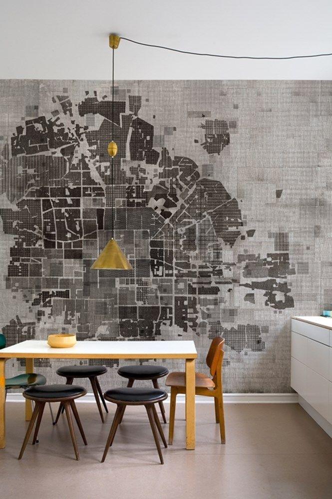 Wall&Decò #wallpaper #decoration #grey #kitchen