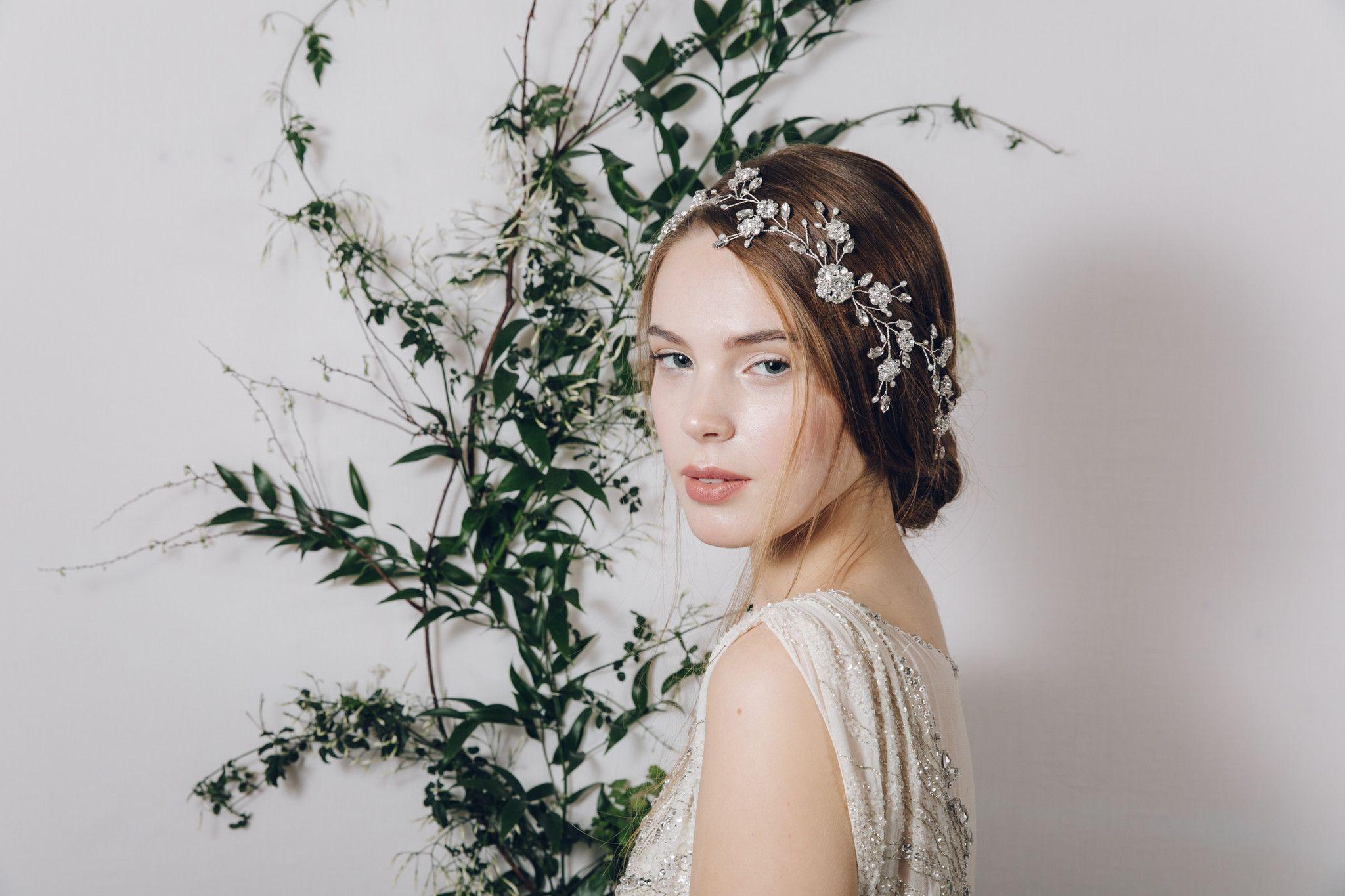 vintage bohemian sparkling silver crystal bridal hair vine